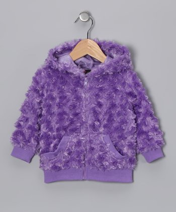 Purple Faux Fur Zip-Up Hoodie - Girls