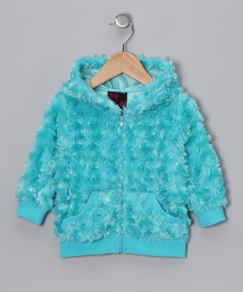 Girls Rule Turquoise Faux Fur Zip-Up Hoodie - Girls