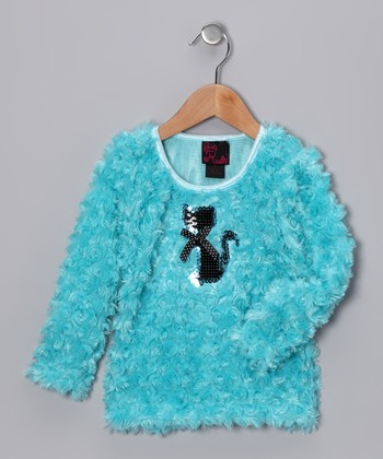 Turquoise Cat Top - Girls