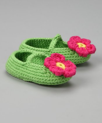 Lime & Pink Crochet Booties