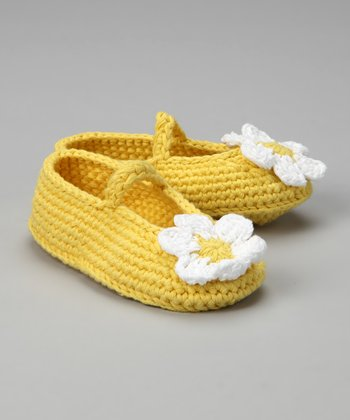 White & Yellow Crochet Booties