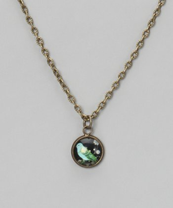 Green & Black Blue Bird Dome Pendant Necklace