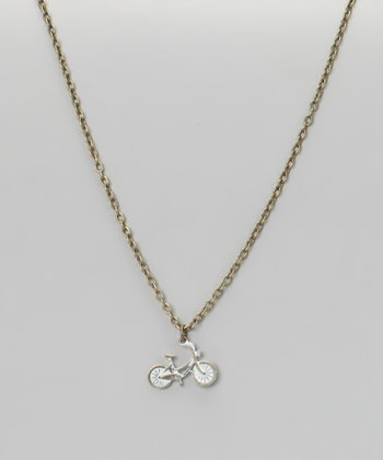 White Bike Pendant Necklace