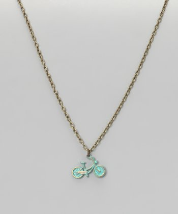 Turquoise Bike Pendant Necklace