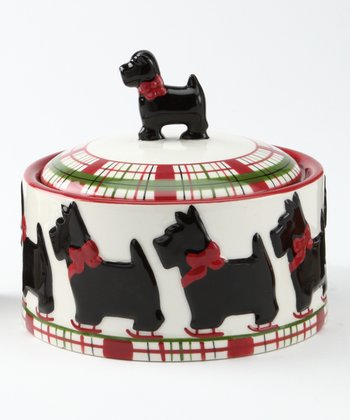 Scottie Plaid Covered Sugar Bowl