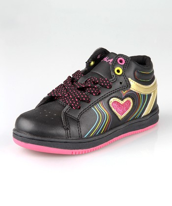 Black & Hot Pink Hi-Top Sneaker - Toddler