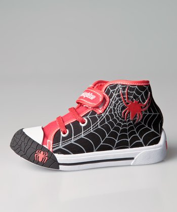 Black & Red Spider Light-Up Hi-Top Sneaker