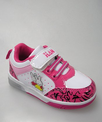 White & Hot Pink Bunny Light-Up Sneaker - Toddler