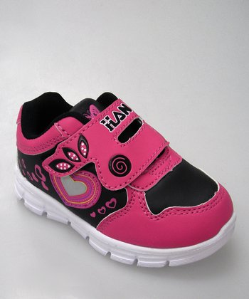 Black & Hot Pink Heart Sneaker