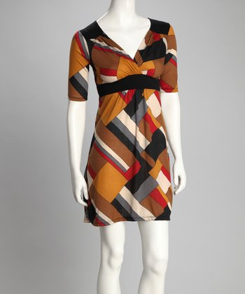Brown Geometric Surplice Dress
