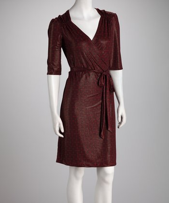 Burgundy Shimmer Wrap Dress