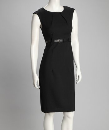 Black Cap-Sleeve Dress