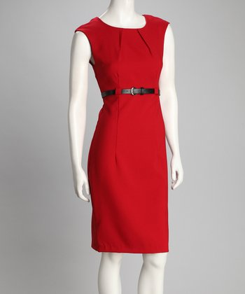 Red Cap-Sleeve Dress