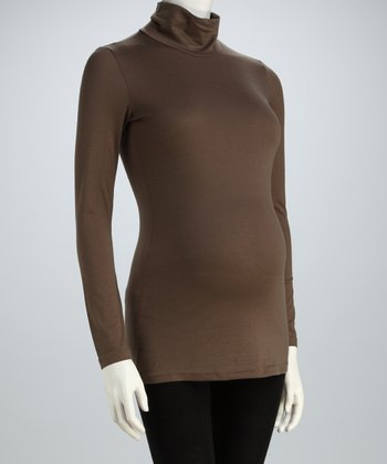 Khaki Had It Up Here Maternity Turtleneck