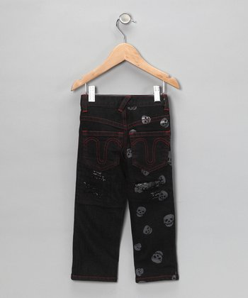 Black Skull Distressed Jeans - Toddler & Boys