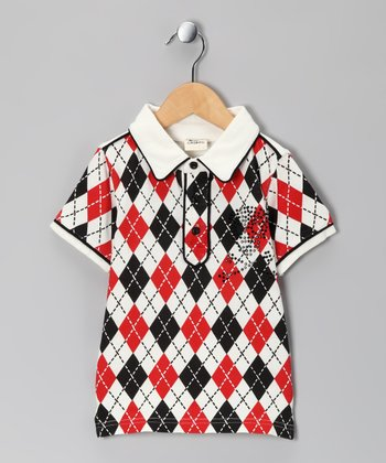 Gasbag Red & Black Argyle Polo - Toddler & Boys
