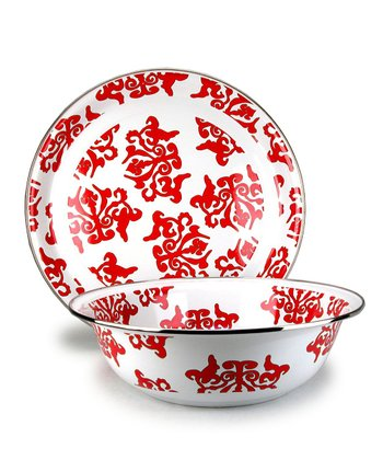 Red Damask Serving Tray & Serving Bowl