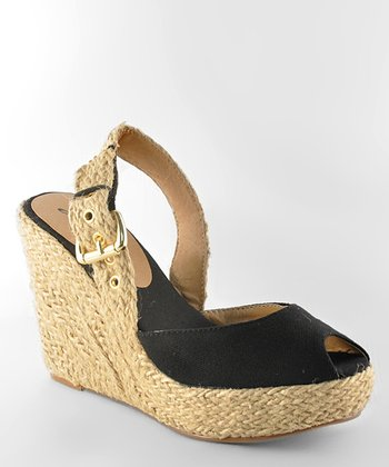 Black Moki 08 Peep-Toe Wedge