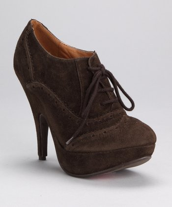 Dark Brown Lace-Up Oksana Pump