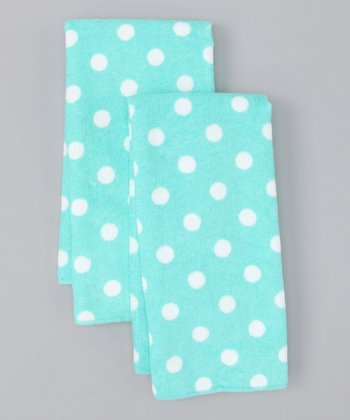 Design Imports Aqua Polka Dot Microfiber Dish Towel - Set of Two