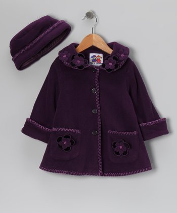 Purple Flower Fleece Coat & Hat - Toddler & Girls