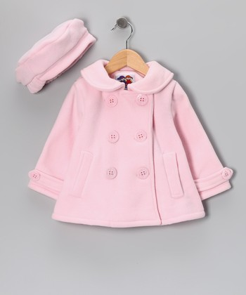 Pink Anchor Fleece Peacoat & Hat - Toddler