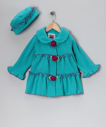 Teal Tiered Rosette Fleece Coat & Hat - Toddler & Girls