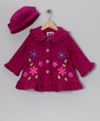 Magenta Floral Fleece Coat & Hat - Toddler & Girls
