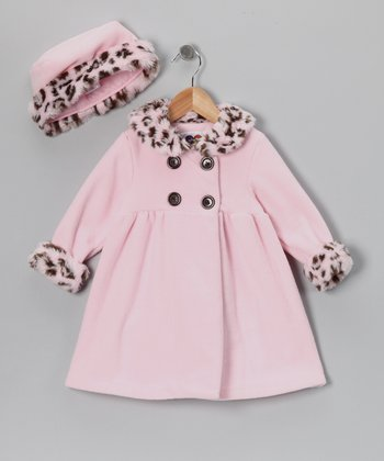 Pink Leopard Faux Fur Fleece Coat & Hat - Toddler & Girls