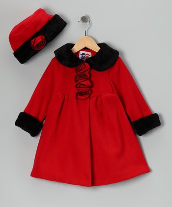 Red Faux Fur Fleece Coat & Hat - Toddler and Girls