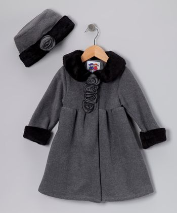 Gray Faux Fur Fleece Coat & Hat - Toddler & Girls