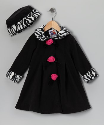 Black Zebra Fleece Rosette Coat & Hat - Toddler & Girls