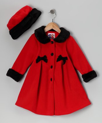 Red Bow Fleece Coat & Hat - Toddler & Girls