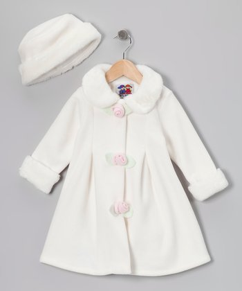 Crème Fleece Rosette Coat & Hat - Toddler & Girls