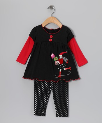 Black Christmas Layered Tunic & Leggings - Infant & Girls