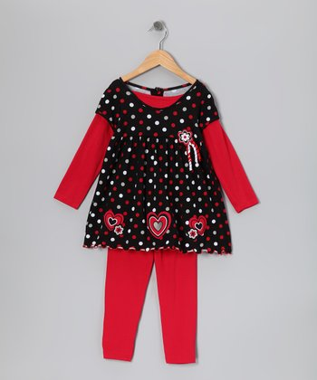 Black Heart Layered Tunic & Red Leggings - Girls