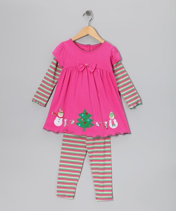 Pink Christmas Layered Tunic & Stripe Leggings - Girls
