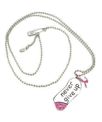 Pink & Silver 'Never Give Up' Necklace