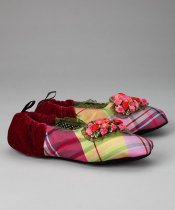 Pink Plaid Sweetie Silk Slipper - Women