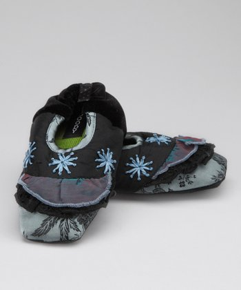 Black Lapis Silk Slipper - Kids