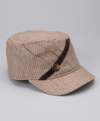Tan Monique Wool-Blend Newsboy Hat