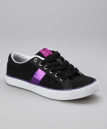 Black & Purple Bee Jeweled Sneaker - Women