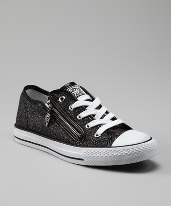 Black Glitter Disco Sneaker - Kids