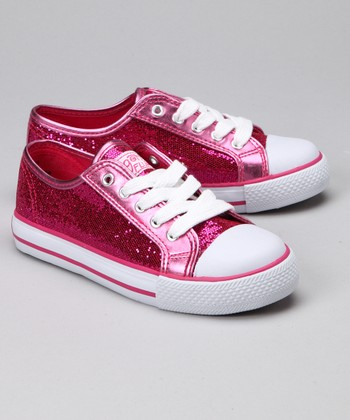 Hot Pink Sparkle Disco Sneaker - Kids