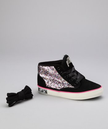 Black Dakar Glitter Hi-Top Sneaker - Kids