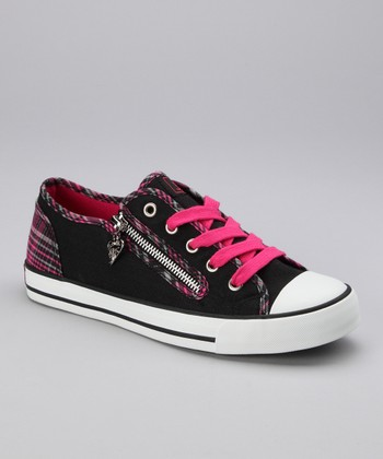 Hot Pink Plaid Elwood Sneaker - Women