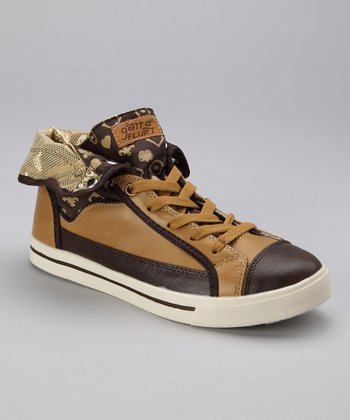 Brown & Gold Glamour Sneaker - Women