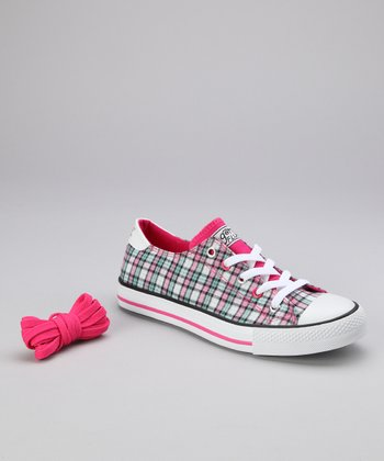 Hot Pink Twisty Plaid Sneaker - Women