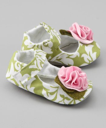 Pale Pink & Green Damask Mary Jane - Kids