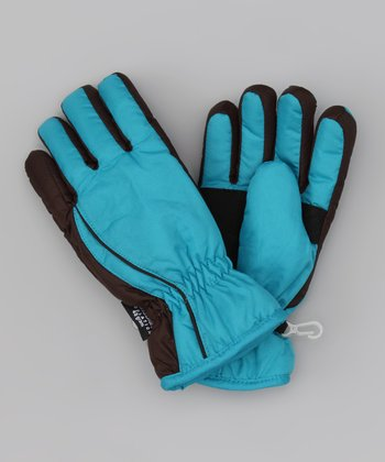 Teal & Brown Taslon Ski Gloves